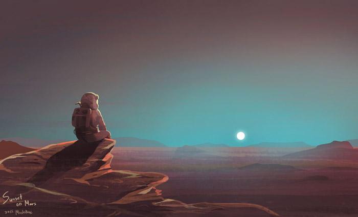Mars günbatımı mavi