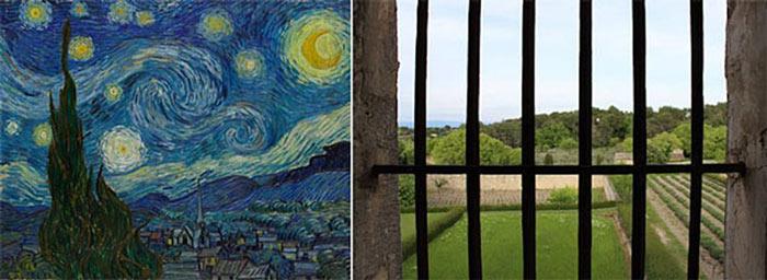 Yıldızlı Gece-Vincent Van Gogh demir parmaklı pencere