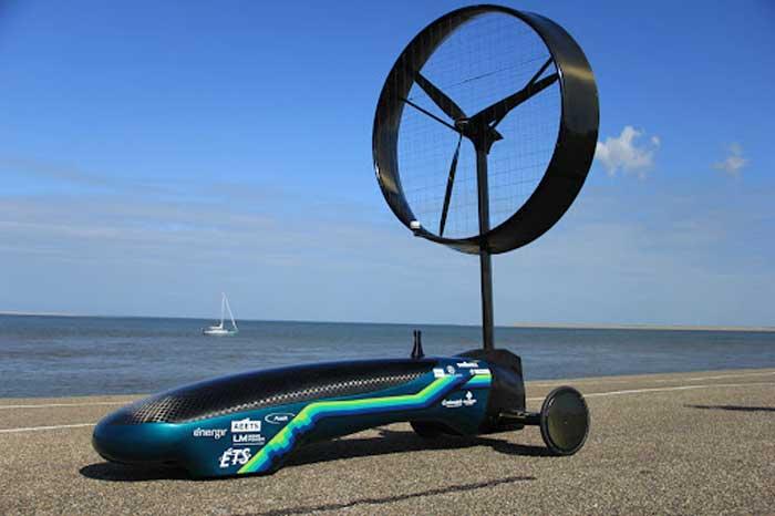 Rüzgar enerjisi ile çalışan araba, Rüzgar turbinli araba